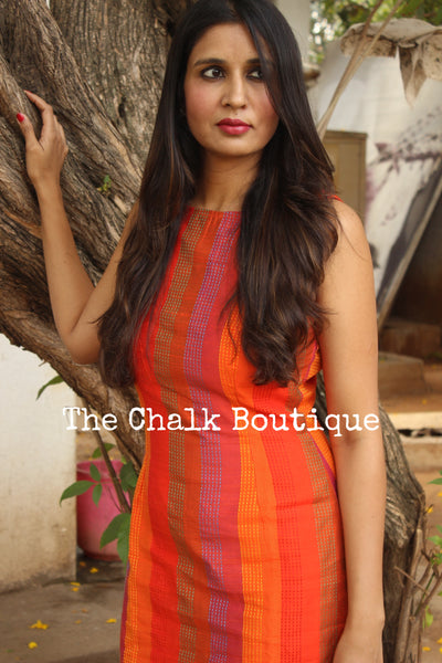 Orange Kantha Silk V Back Sheath Dress  DRS0293