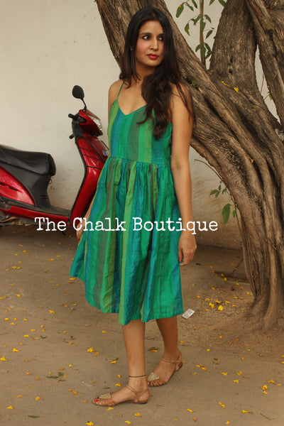 Green Kantha silk Midi Dress DRS0300