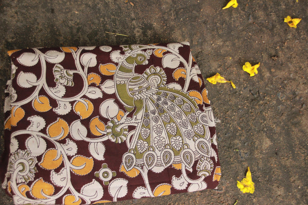 Hand Block Printed Leaf Design With Olive-green  Bird in Cotton Silk Kalamkari Fabric TCBP-23