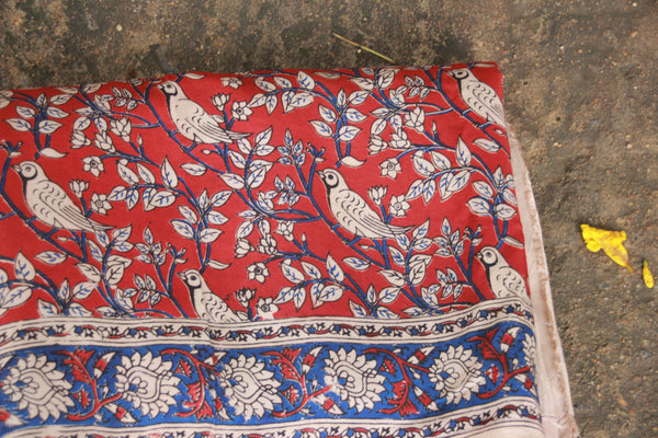 Hand Block Printed Cotton Silk Red Bird Kalamkari Fabric TCBP-18