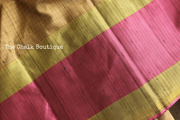 Exquisite small checked Pure Kanjeevaram Silk Saree with contrast border and pallu. TCB-JR8108