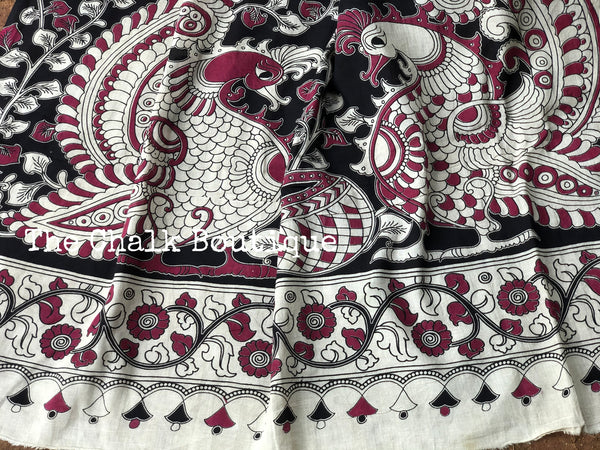 Black with broad border soft cotton kalamkari saree.