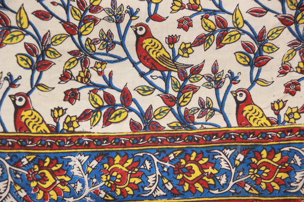 Hand Block Printed Beige Birds in Cotton Silk Kalamkari Fabric TCBP-16