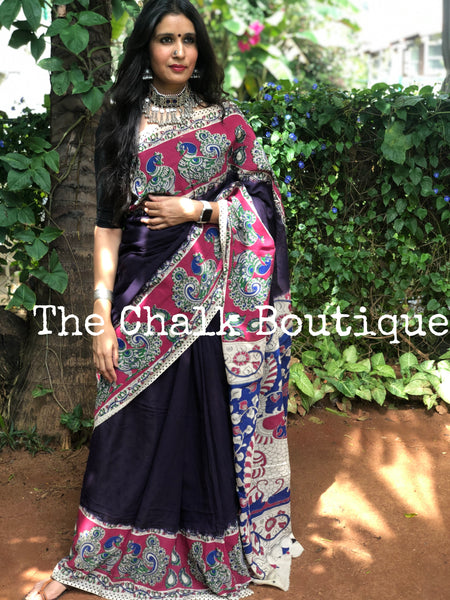 Purple with pink broad border soft cotton kalamkari saree.