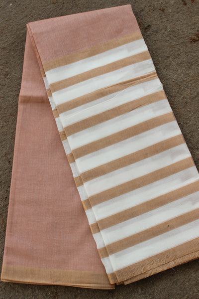 Light peach and white Venkatagiri cotton Saree With Zari Border RK-VENK-2-C20