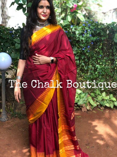 | Kumkum | Maroon with Mustard Border Mercerised Cotton Saree.