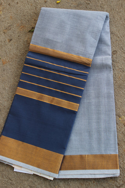 Grey and blue Venkatagiri cotton Saree With Zari Border RK-VENK-9-C20