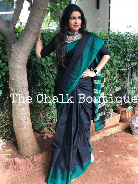 Black with Green Border Mercerised Cotton Saree.