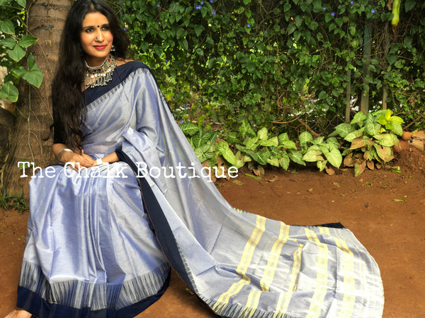 Steel Grey with Blue Border Mercerised Cotton Saree.