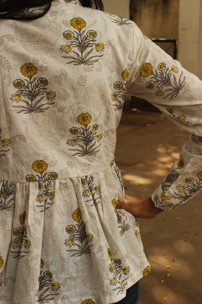 White hand block printed Full Sleeve Peplum Top. TOP0279
