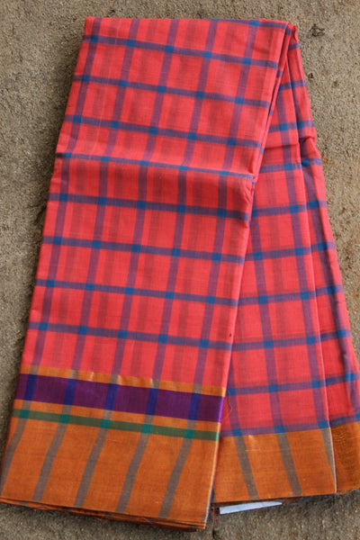 Pink and blue checked Venkatagiri cotton Saree With Zari Border RK-VENK-6-C20
