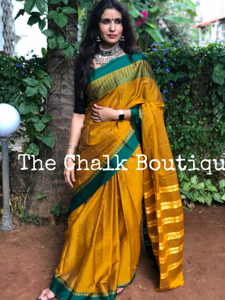 Mustard with Green Border Mercerised Cotton Saree.