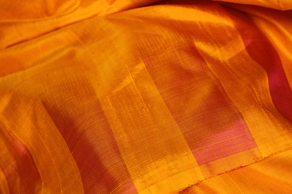 | VENUS | Yellow Pure Kanjeevaram Soft Silk Saree with contrast border. TCB-JR5202B