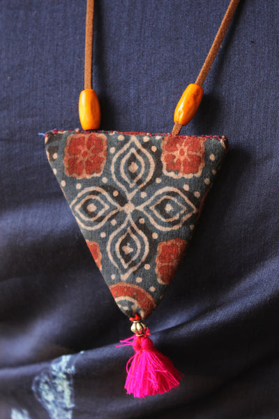 Indigo Triangular Hand Block print Fabric necklace . CC-TNP1-C1