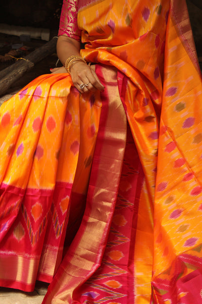 | AKASH MALLIGE | Yellow Pure Kanjeevaram Soft Silk Saree with contrast border. TCB-JR5084