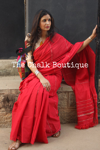 Red Mul cotton 'khesh' saree. TCB-KSH-RED-The Chalk Boutique