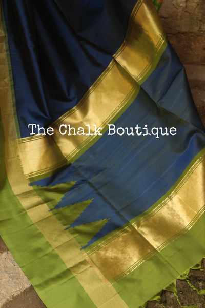 | Blue Berry | Blue Pure Kanjeevaram Soft Silk Saree with contrast border. TCB-JR5200A
