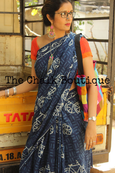 Handblock printed indigo dabu ' cycle' saree SHB-IN-18