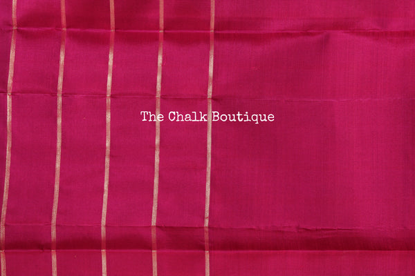Pink Pure Kanjeevaram Soft Silk Saree with contrast checked border. TCB-JR3320