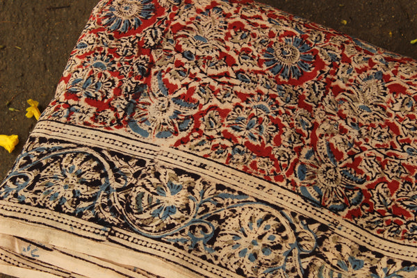 Red Overall Hand Block Printed Cotton Kalamkari Fabric with border. TCB-FAB1-KN
