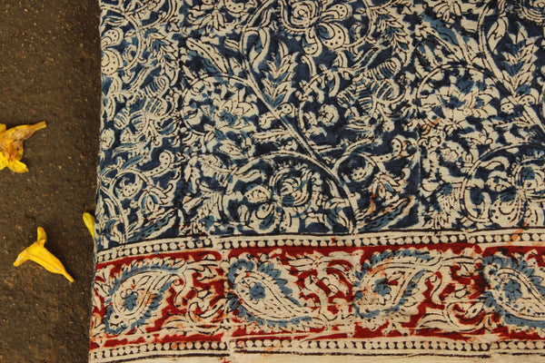 Indigo Overall Hand Block Printed Cotton Kalamkari Fabric with border. TCB-FAB2-KN