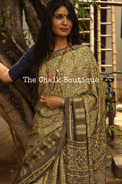 Beige with grey border Color Modal silk vegetable dyed Ajrakh saree. KCH-MOD5-C14-The Chalk Boutique