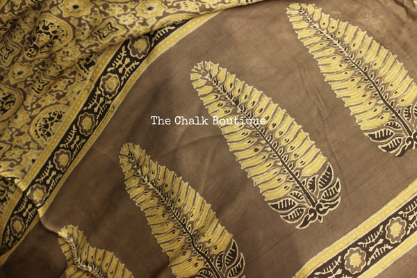 Beige with grey border Color Modal silk vegetable dyed Ajrakh saree. KCH-MOD5-C14