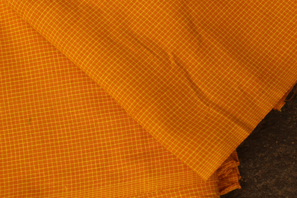 Yellow Tiny Checked Handloom Cotton Fabric. TCB-FAB5-KN