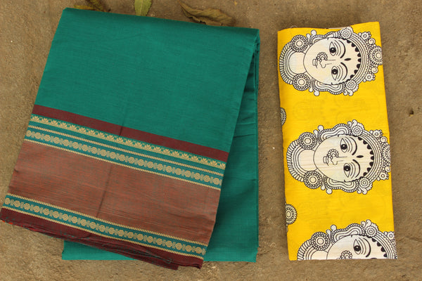 Kanchi cotton saree with small Rudraksh border. RK-KC1-C32-The Chalk Boutique