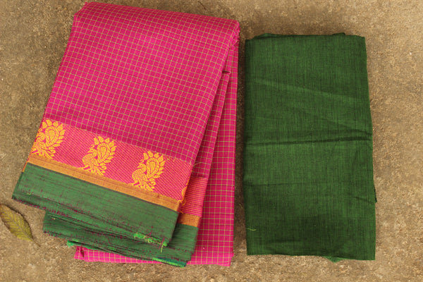 Pink Checked Kanchi Cotton Saree With Green Border. TCB-KP19-C1