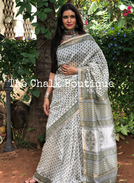 | Pristine Hills | White Hand Block printed Chanderi Saree.
