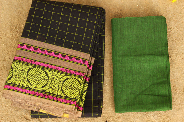 Black Checked Kanchi Cotton Saree With Green Border. TCB-KP20-C1
