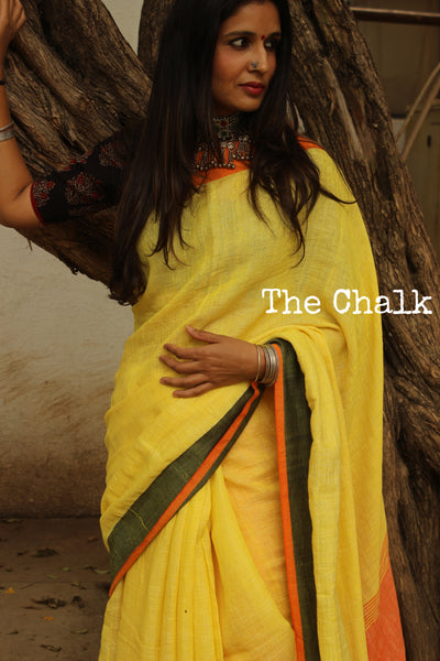 Yellow Handwoven  Linen by cotton Saree with pompoms. TCB-LC1-P7