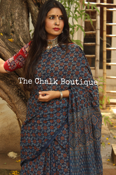 Indigo Handwoven vegetable dyed Ajrakh mul cotton saree . KCH-AJR4-C14-The Chalk Boutique