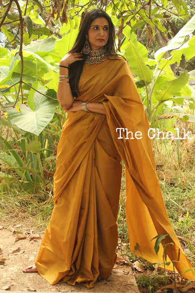 Plain Poly- silk saree with brocade blouse fabric. RK-PS2-C32