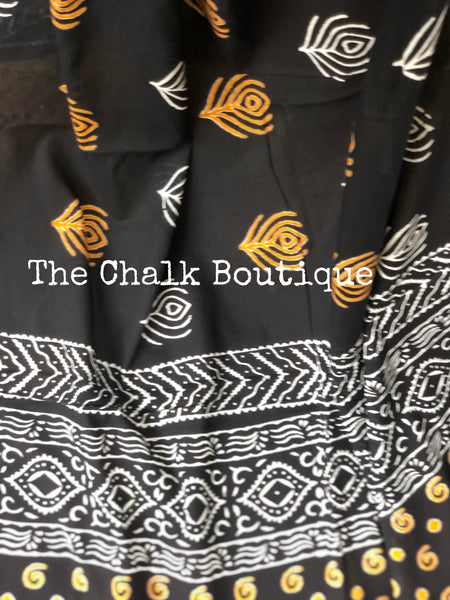 Black Sanganeri Print Mul cotton saree.