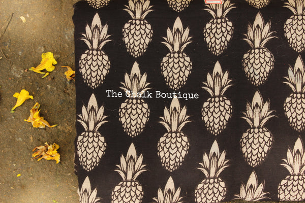 "Black ""Pineapple"" overall Hand Block Printed Cotton Kalamkari Fabric."