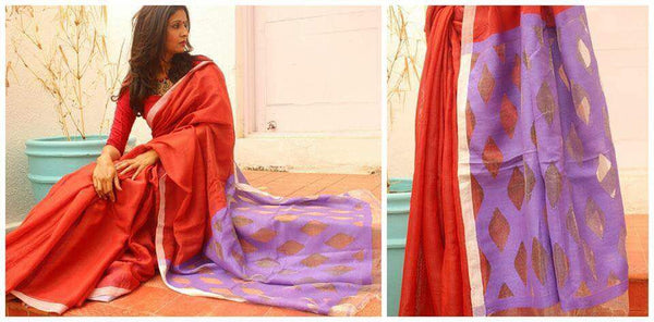 Handwoven linen with jali work pallu.MO-LIN-JAL