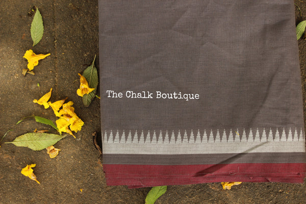 Grey Handloom Cotton Fabric with contrast border. TCB-FAB10-KN