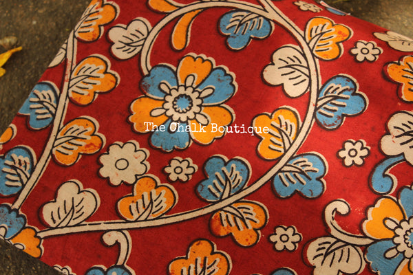 "Red ""Flowers"" overall Hand Block Printed Cotton Kalamkari Fabric. TCB-OKAL3"
