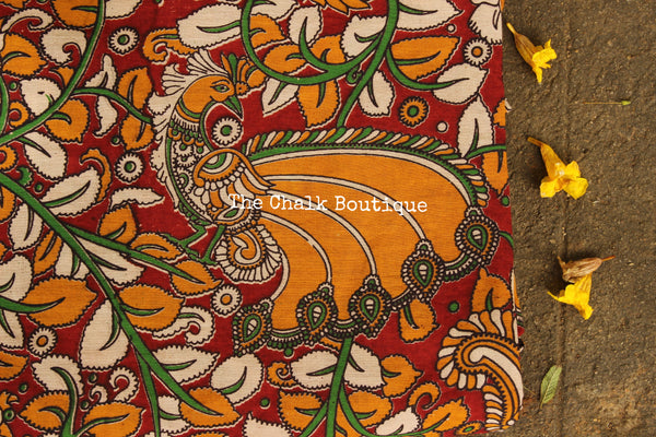 "Red ""Peacock"" overall Hand Block Printed Cotton Kalamkari Fabric. TCB-OKAL4"