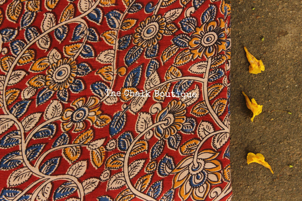 "Red ""Creepers"" overall Hand Block Printed Cotton Kalamkari Fabric. TCB-OKAL5"