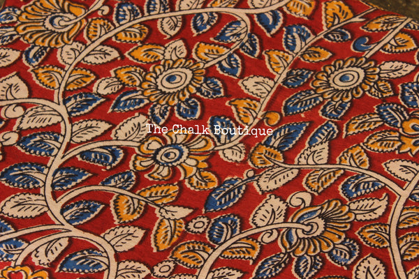 "Red ""Creepers"" overall Hand Block Printed Cotton Kalamkari Fabric."