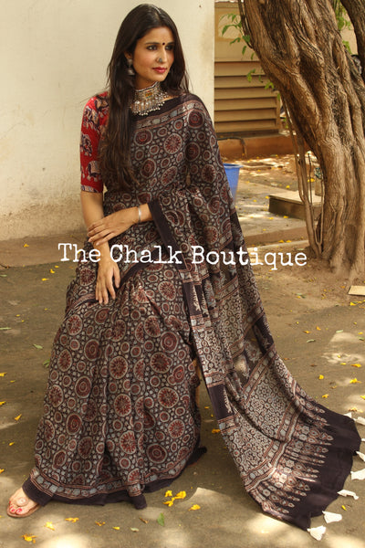 Black Handwoven vegetable dyed Ajrakh mul cotton saree . KCH-AJR9-C14-The Chalk Boutique