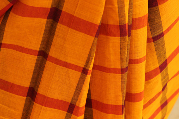 Mustard big Checks Kanchi Cotton Saree. TCB-KP3-C1