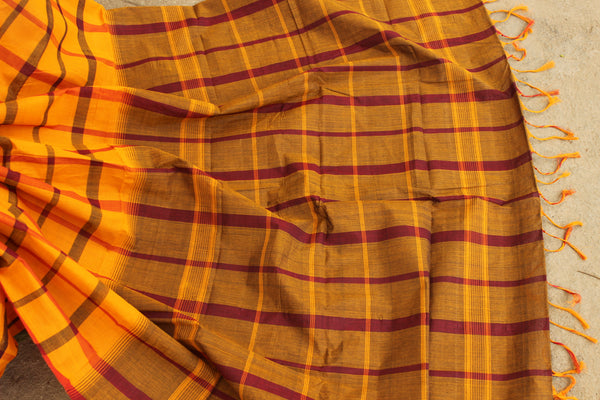 Mustard big Checks Kanchi Cotton Saree. TCB-KP2-C1