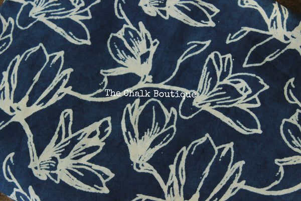 Floral Indigo Hand block printed Fabric in Cotton. TCB-INFAB1