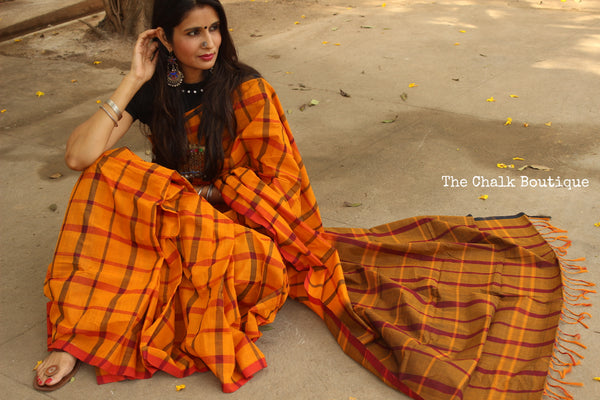 Mustard big Checks Kanchi Cotton Saree. TCB-KP3-C1-The Chalk Boutique