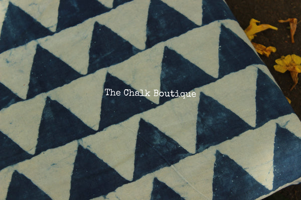"""Parbat"" Indigo Hand block printed Fabric in Cotton. TCB-INFAB2"