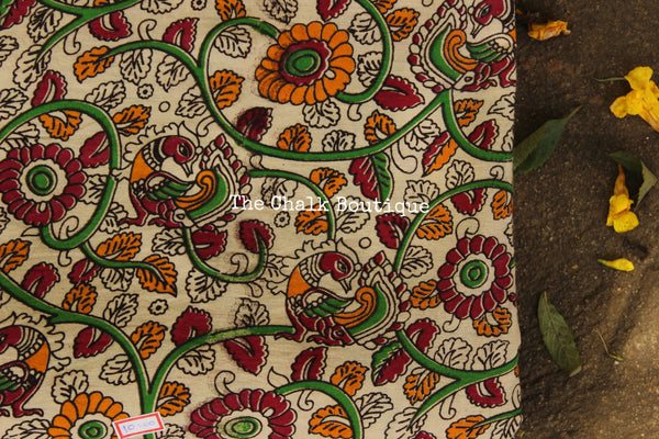 "Beige "" Flowers & Birds"" overall Hand Block Printed Cotton Kalamkari Fabric."